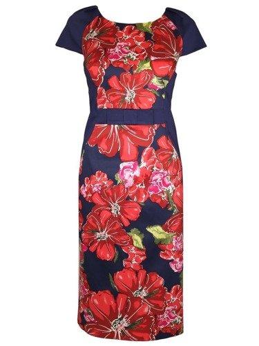 Wiosenna sukienka w kwiaty Sara VII. Fason wyszczuplający.