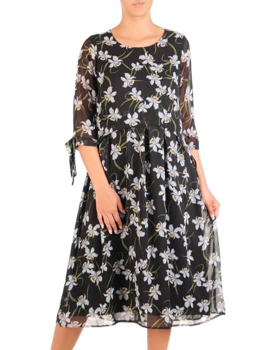 Wizytowa sukienka damska, kreacja w luźnym fasonie 30171