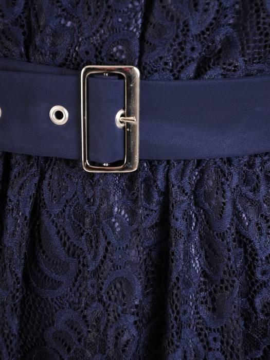 Wizytowa sukienka damska, kreacja z granatowej koronki 27372