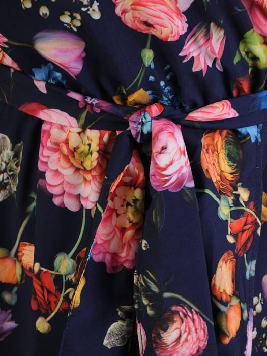 Wizytowa sukienka kopertowa, modna kreacja z wiązaniem w pasie 26844
