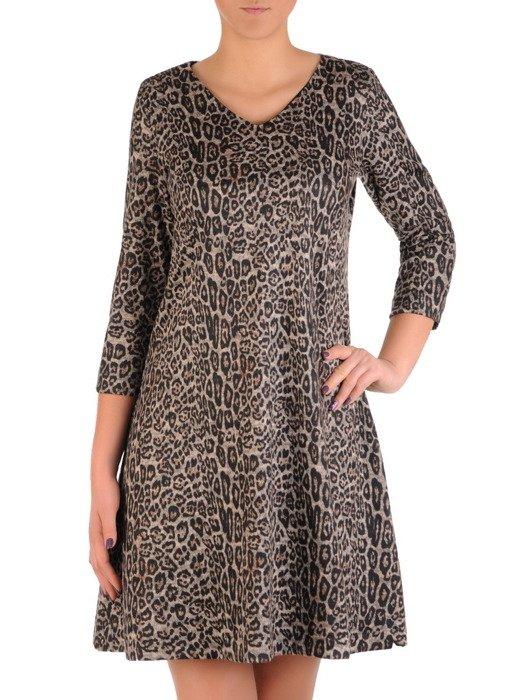 Wizytowa sukienka w panterkę, elegancka kreacja o luźnym kroju 18770