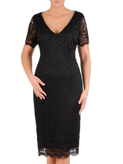 Wizytowa sukienka z koronki, kreacja w prostym fasonie 22548