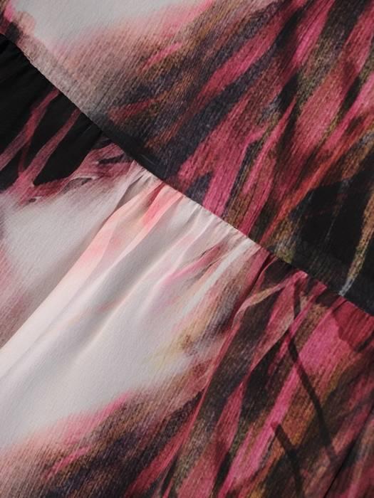 Wizytowa sukienka z wiązanym dekoltem i gumkami na rękawach 28213