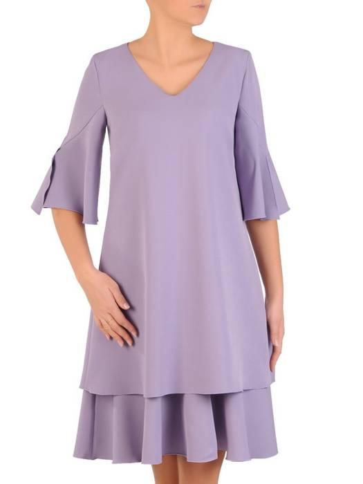 Wrzosowa, luźna sukienka z dekoracyjnymi rękawami 28142