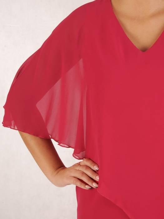 Wyjściowa kreacja z szyfonową narzutką, wyszczuplająca sukienka 27457