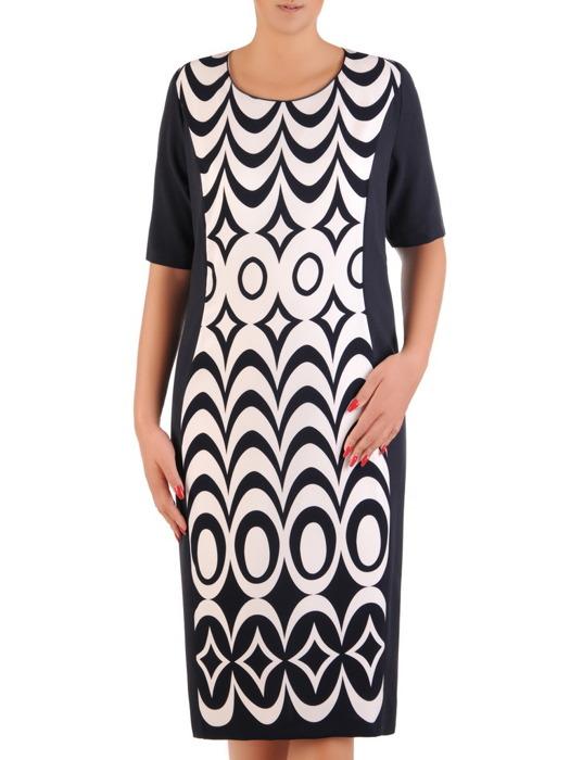 Wyszczuplająca sukienka z geometryczną wstawką, elegancka kreacja w modnym fasonie 21299