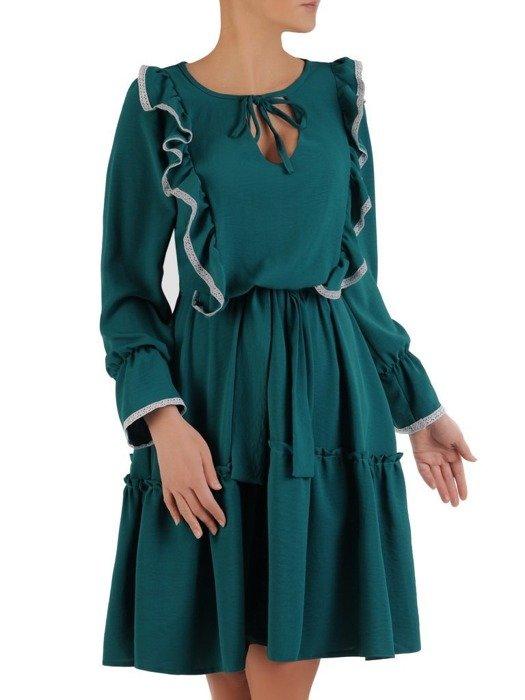Wyszczuplająca sukienka z modnymi falbanami 24174