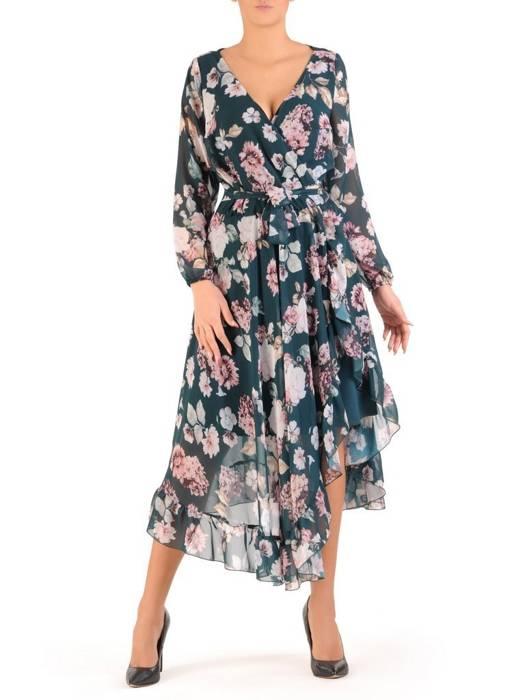 Wzorzysta szyfonowa kreacja, wiązana w pasie sukienka 28006