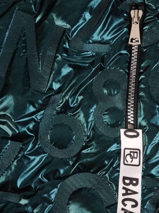 Zielona połyskująca kurtka zapinana na suwak 28622