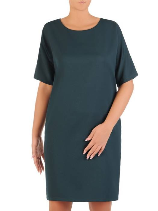 Zielona sukienka damska, elegancka kreacja z kokardą na plecach 27240