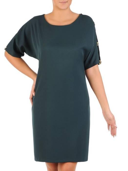 Zielona  sukienka z ozdobnie wyciętymi rękawami 27686