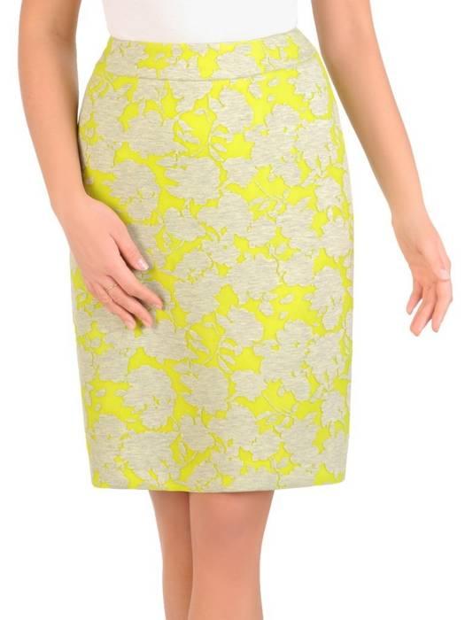 Żółta spódnica z oryginalnym kwiatowym wzorem 28310