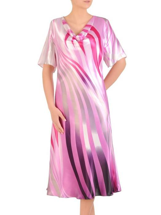 Zwiewna sukienka damska, kreacja z dekoltem podkreślającym biust 29949