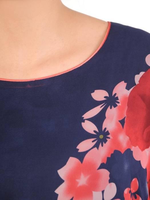 Zwiewna sukienka w kwiaty, kreacja z wiązaniami na rękawach 29868