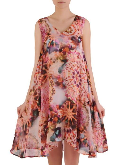 Zwiewna sukienka w luźnym fasonie maskującym brzuch 20907.