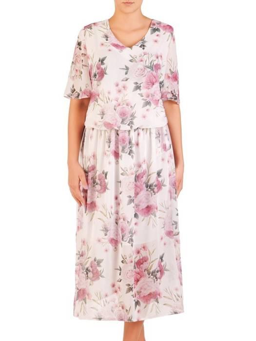 Zwiewna sukienka z szerokimi rękawami, modna kreacja w kwiaty 30317