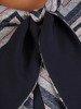 Komplet damski, granatowa sukienka z oryginalnym bolerkiem 23413
