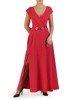 Amarantowa suknia z kopertowym dekoltem i nowoczesną aplikacją 23187
