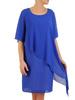 Chabrowa sukienka wyszczuplająca, kreacja z asymetryczną narzutką 31020