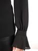 Czarna bluzka z żabotem i ozdobnie wykończonymi rękawami 30783