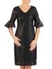 Czarna koronkowa sukienka, kreacja z ozdobnymi rękawami 27881