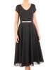 Czarna rozkloszowana sukienka z ozdobną aplikacją w pasie 31124