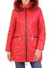Czerwona kurtka z ozdobnym kapturem i przednimi kieszeniami 31097