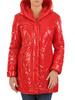 Czerwona kurtka z pikowanej tkaniny z kapturem 30667
