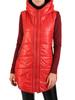 Czerwona, pikowana kamizelka damska z kapturem 30639