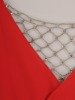 Długa sukienka kopertowa, kreacja z ozdobą na plecach 22751