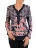 Dzianinowa bluzka damska z ozdobnym dekoltem 23958