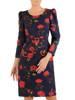 Elegancka granatowa sukienka z marszczonymi rękawami 27554