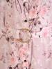 Elegancka sukienka w kwiatowy wzór, rozpinana kreacja z ozdobnym paskiem 29271