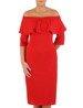 Elegancka sukienka z dekoltem carmen, czerwona kreacja odsłaniająca ramiona 22428