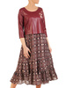 Elegancka sukienka z łączonych materiałów, luźna kreacja z ekoskórą 31039