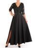 Elegancka suknia z koronkowym topem, czarna kreacja maxi 26867