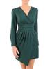 Elegancka zielona sukienka, kreacja z kopertowym dekoltem 30952