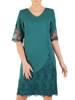Elegancka zielona sukienka, kreacja ze wstawkami z koronki 28753