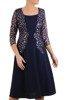 Granatowa sukienka z koronkową wstawką imitującą żakiet 24224