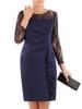 Granatowa sukienka z koronkowymi rękawami i ozdobną falbaną 26924