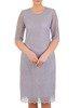 Koronkowa popielata sukienka, elegancka kreacja w prostym fasonie 25050