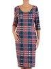 Kraciasta sukienka z bocznymi kieszeniami, atrakcyjna kreacja na jesień 22894