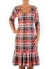 Kraciasta sukienka z szeroką falbaną, elegancka kreacja w modny wzór 22895
