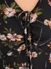Luźna sukienka z szyfonu, kreacja z ozdobnym wiązaniem na dekolcie 30500