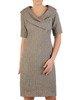 Prosta sukienka z żakardowej tkaniny, kreacja z modnym kołnierzem 24050