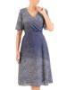 Rozkloszowana sukienka z kopertowym dekoltem, kreacja w groszki 30506