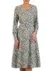 Rozkloszowana sukienka z paskiem, kreacja w modnym kolorze 25032