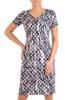 Sukienka w ciekawy wzór, prosty fason z dekoltem w serek 28812