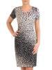 Sukienka w ciekawy wzór, prosty fason z dekoltem w serek 28818