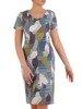 Sukienka w geometryczny wzór, prosty fason z dekoltem w serek 25730